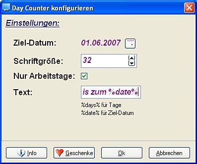 Screenshot vom Programm: Daycounter