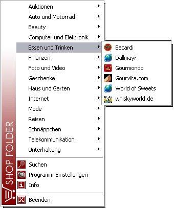 Screenshot vom Programm: ShopFolder